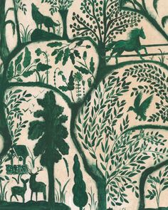 THE ENCHANTED WOODLAND Green Wallpaper Four Corners, Green Wallpaper, Traditional Wallpaper, Interior Walls, Repeating Patterns, Designer Wallpaper, True Colors, Luxury Furniture, Enchanted