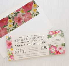 Tropical Bridal Shower Invites with Hawaiian Style Envelope Liners!
