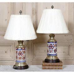 Antique Lighting | Antique Table Lamps | Pair Antique Imari Oil Lanterns | www.inessa.com