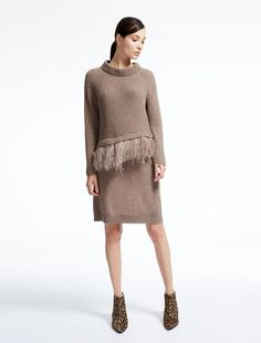 Weekend Max Mara FEDRA hazelnut brown: Pure wool dress Product page