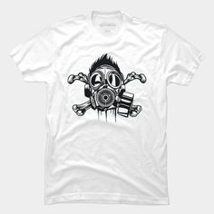 Mr Bones is a T Shirt designed by MisfitInVisual and is available at Design By Humans   #bones #gasmask #skull #blackandwhite  #MisfitInVisual #MIV #Merchandise #brand #trending #fashion #tees