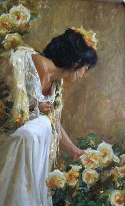 """New Beginnings"" (detail) by Gladys Roldan-de-Moras Oil ~ 48 x 24"