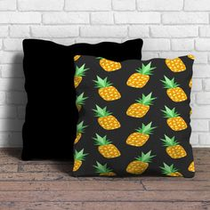 This is Pineapple Tumblr pillow cushion -Removable poly/cotton cover pillows are soft and wrinkle free. -Hidden zipper enclosure. -Do not include insert. -Finished with a black or white back. -Machine