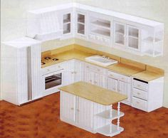 Pretty much the layout for the loft kitchen but w/o stove and table instead of island.