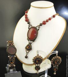 "Комплект ""Фламенко"" - рыжий,комплект,комплект украшений,кулон,кулон с камнем"