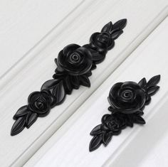 Dresser Knobs Drawer Pull Handles / Black Rose Knobs Flower Pulls Handles / Dresser Pulls Handles Unique Cabinet Pulls  Hardware Kitchen by Anglehome on Etsy