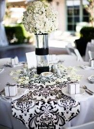 Wedding Reception - Black & White Damask Table Runners