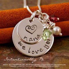 Personalized Custom Jewelry - We love you 'nana' - Sterling Silver Hand Stamped neckalce - Grandma Necklace. $52.00, via Etsy.