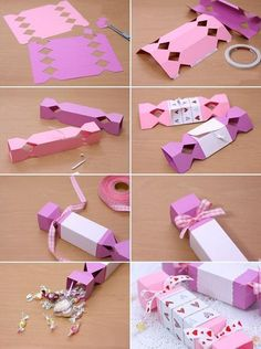 Do it yourself valentine gift wrapping paper candy box folding tutorial. Wrapping Ideas, Gift Wrapping, Wrapping Papers, Crafts For Teens, Crafts To Make, Crafts For Kids, Foam Crafts, Homemade Valentines, Valentine Day Gifts