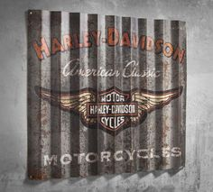 This retro-cool work of art celebrates your Valentine's unique style. | Harley-Davidson Corrugated Metal Sign