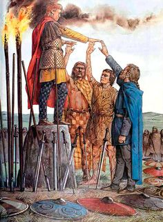 """Swearing fealty - King Arthur stands upon a sacred stone and accepts the oath of fealty from a Celtic chief, a Pict and a Saxon"", Richard Hook King Arthur Legend, Legend Of King, Roi Arthur, Rome Antique, Irish Warrior, Celtic Warriors, Celtic Culture, Celtic Art, Iron Age"