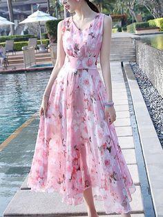#BFCM Black Friday Sale! #fashion #trends #styles #AdoreWe #BerryLook - #berrylook V-Neck Floral Chiffon Sleeveless Maxi Dress - AdoreWe.com