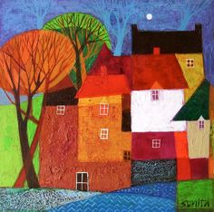 """Sunita Khedekar """"Education: I Graduated in Applied arts and . Colorful Art, Art Journal Inspiration, Landscape Paintings, School Art Projects, Naive Art, Abstract, Folk Art Painting, Canvas Painting, Abstract City"""
