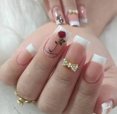 french nails with a twist Tips Cute Nails, Pretty Nails, Romantic Nails, Clear Acrylic Nails, Bright Summer Nails, Manicure E Pedicure, Stylish Nails, Holiday Nails, Perfect Nails