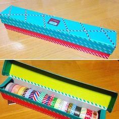 DIY好き感涙!ラップの空き箱で作る「マステケース」が簡単で機能的すぎ! - macaroni Masking Tape, Washi Tape, Diy And Crafts, Paper Crafts, Hobonichi, Creative Home, Getting Organized, Handicraft, Decorative Accessories