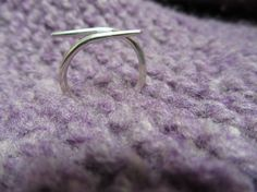 Sterling Silver Cable Needle Ring by lesliewind on Etsy, $20.00