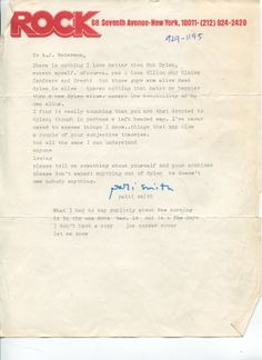 Letter from Patty Smith re: Dylan