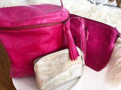 Moo leather bags and purses... Yes! I really do LOVE these  #moo #moobag #moobags #leather #pink #gold #norwegiandesign #norskdesign #kariannesæther #clutchbag #makeupbag #toiletbag #loveyourmoo #moovesker #vesker #toalettmappe #afewmembersofmymoocollection #mooaddict #mooaddicted #skinnvesker #bager #skinn #lær by heidijunesorheim