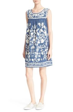 Sea Embroidered Sleeveless Shift Dress