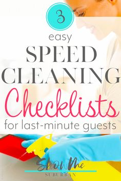 Last minute guests? These printable speed cleaning checklists will help get your house looking great fast! Choose from 3 quick routines that take 15 minutes, 30 minutes, or 1 hour. They're filled with easy tips and hacks to impress your company! Speed Cleaning, Cleaning Day, Bathroom Cleaning, Cleaning Hacks, Daily Cleaning Checklist, Homekeeping, Declutter, Easy, Organized Kitchen