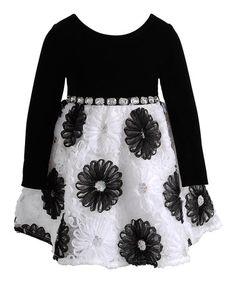 Look what I found on #zulily! Black & White Floral Rhinestone Dress - Toddler & Girls by Sweet Heart Rose #zulilyfinds