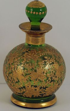 Magnificent green Bohemian glass perfume/scent bottle with gilt accents by Moser, 19th Cent.