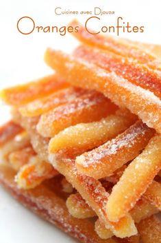 Make candied oranges or orangettes . - Make candied oranges very easily - Candy Recipes, Sweet Recipes, Köstliche Desserts, Dessert Recipes, Orange Confit, Orange Recipes, Crockpot Recipes, Healthy Snacks, Sweet Tooth