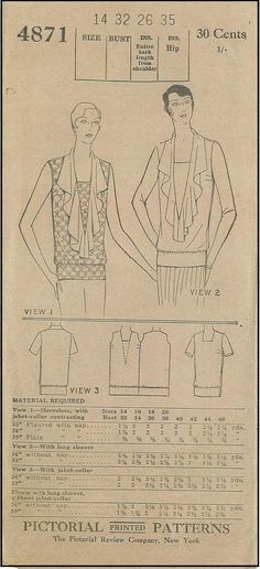 1920s Ladies Blouse Sewing Pattern - Pictorial Review 4871
