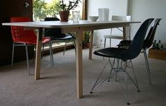 Michael Marriott. Barbican Table. Six seater flat-pack dining table with beech frame, steel bracing and top in white faced birch ply.