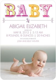 Ceci New York for Tinyprints: Letter Perfect Cupcake baby announcements