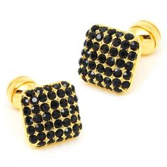 Romance Black Crystal with Gold Setting Cufflinks