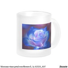 blossoms vines petal rose flowers flower blue love frosted glass coffee mug