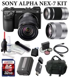 Sony Alpha NEX-7 Three Lens Bundle Include Sony SEL 18-55mm + Sony 50mm + Sony 55-210mm + Case + 32GB SDHC (10) + Battery by Sony. $1799.00. The Willoughby's NEX-7 Three Lens Bundle Includes:  1. Sony NEX-7KB 24.3 MP Compact Interchangeable Lens Camera (Black) 2. Sony E-Mount SEL 1855 18-55mm f/3.5-5.6 Zoom Lens 3. Sony 50mm f/1.8 Telephoto Lens 4. Sony 55-210mm f/4.5-6.3 Lens (Silver)   5. Deluxe Case 6. LexSpeed 32GB SDHC Class 10 Memory Card 7. Spare Battery 8. Giotto's Cl...