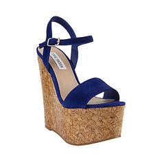 Steve Madden   Bickker Platform Blue Suede Cork Wedge-- Me want!!!