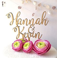 Personalized cake topper, wedding cake topper, rustic wedding cake topper, wooden cake topper, name cake topper, custom cake topper - Cake and cupcake toppers (*Amazon Partner-Link)
