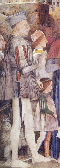 Andrea Mantegna, fresco in the Camera degli Sposi, detail of Ludovico Gonzaga,1465-1474 He is wearing white painted greaves and probably has a cuirasse under his giornea. This was pointed out by Chris Dobson.