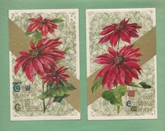 Gorgeous POINSETTIAS On Lot of 2 Vintage JOHN WINSCH CHRISTMAS Postcards #Christmas