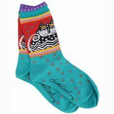 Laurel Burch Socks-Polka Dot Cats -Turquoise