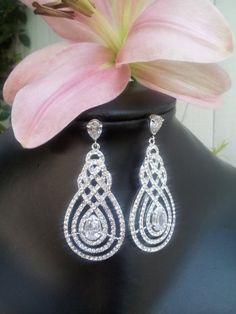 Crystal Knot wedding chandelier bridal earrings