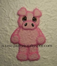 Pansie the Pig Standing Tear Bear Paper Piecing Embellishment. #cute