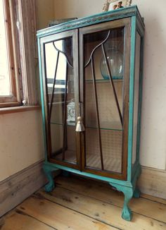 Vintage Walnut Glazed Display Cabinet with Carving Detail and Cabriole Ball & Claw Feet Hand Painted Annie Sloan Provence