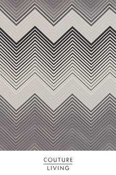 Part of the Momentum 10 Fabric Collection from Prestigious Textiles, Equalize is a geometric inspired fabric featuring a repeating zig-zag design. Seen here in Charcoal/Steel. Available as curtains or blinds, made to measure by Couture Living. Grey Interior Design, Prestigious Textiles, Curtains With Blinds, Zig Zag, Charcoal, Interior Decorating, Couture, Steel, Inspired