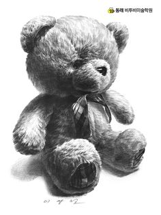 Easy Pencil Drawings, Pencil Sketch Drawing, Bear Drawing, Realistic Drawings, Drawing Ideas, Pencil Shading, Gcse Art Sketchbook, Stippling Art, Teddy Bear Pictures