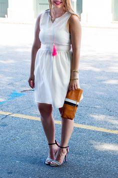 white dress + pop of color