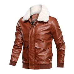 Mens Leather Jackets Casual Motorcycle PU Fur Collar Jacket Leather Bomber sold by Lajuria. Shop more products from Lajuria on Storenvy, the home of independent small businesses all over the world. Fur Collars, Mobile Pocket, Fur Collar Jacket, Studded Jacket, Leather Flight Jacket, Leather Jackets, Ideal Fit, Leather Men, Fall Winter