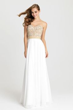 Soft hues and delicate beading pair together in this strapless chiffon formal gown.  Only available at selected stores.