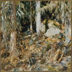 John Singer Sargent, The Hermit.    The dappled light is beautiful and really conceals the foreground figures of the hermit and deer.