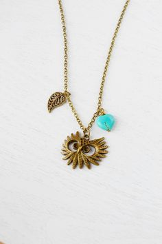 Owl NecklaceOwl JewelryFeathery Owl Charm by KimFong on Etsy, $19.00