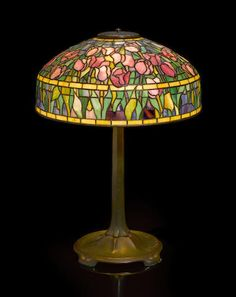A Tiffany Studios Favrile glass and patinated bronze Tulip lamp circa 1928