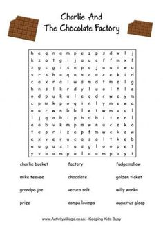 Charlie and Chocolate Factory Word Search